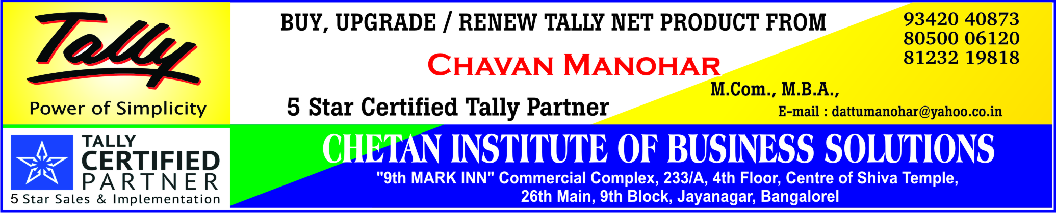 Chetan Institute Of Business Solutions In Bangalore
