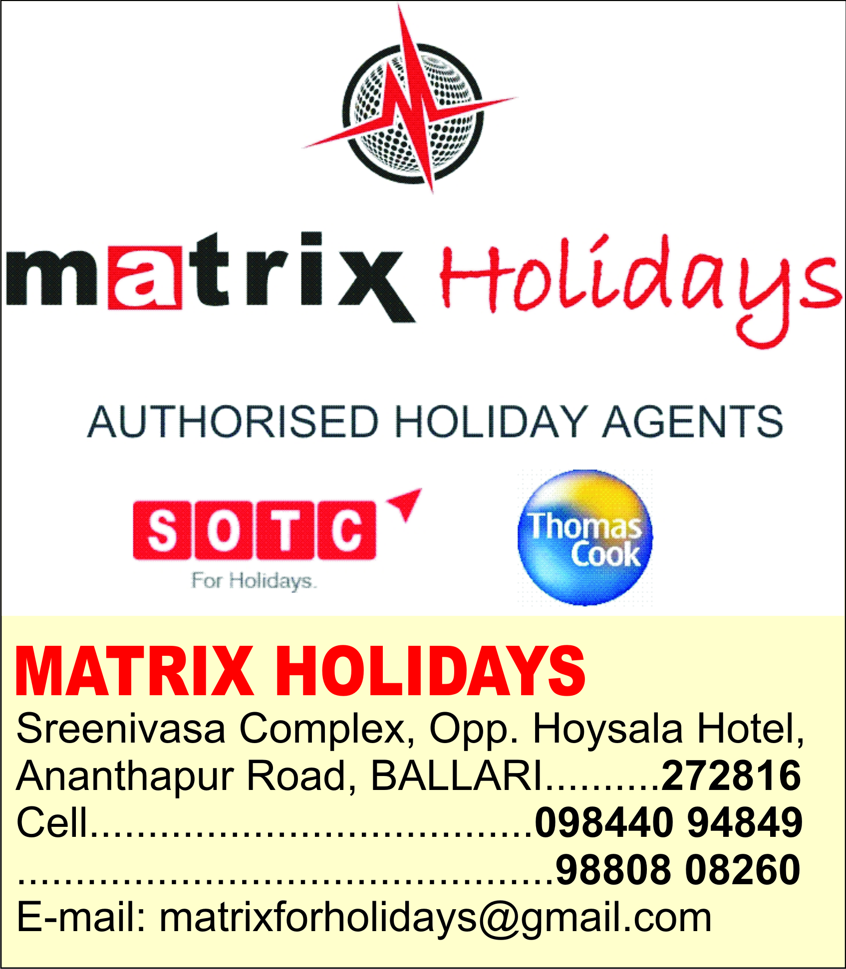 MATRIX HOLIDAYS